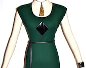 PIERRE CARDIN Vintage Knit Vest Top Ribbed Green Mod Patent Leather Tunic - AUTHENTIC -