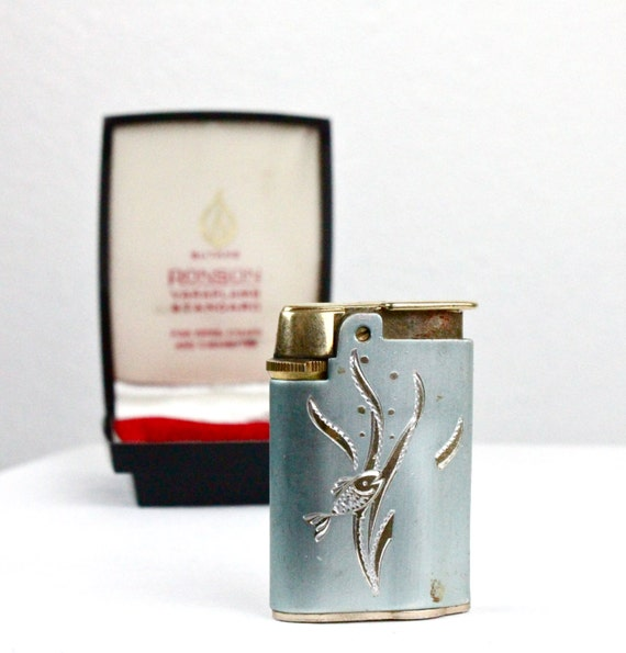 c1960's Varaflame Starfire Ronson Engraved Fish Lighter