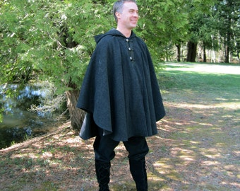 Charcoal Cape - Wool Cape - Three Button Cape