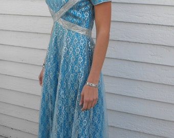 Emma Domb Blue Silver Lace Gown Vintage 60s Party Dress 1960s S XS