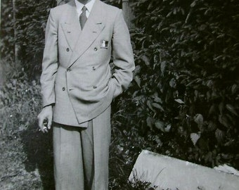 Vintage Black & White Photo - Man in a Double Breasted Suit