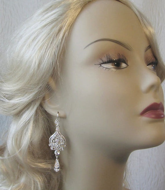 Swarovski Rhinestone Chandelier Earrings, Crystal Bridal Earrings - AGRIPPINA