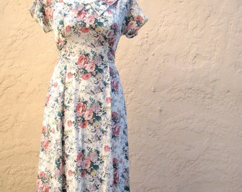 Vintage 80s / Floral / Garden / Rose / Day Dress / SMALL