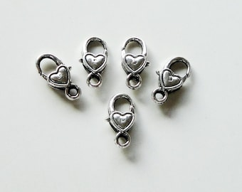 Silver Lobster Clasp - Heart Shaped Lobster Clasp - 17mmx9mm - Metal Jewelry Findings - Lock Clasp (6) Pcs -