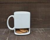 Solid White - Ceramic Cookies and Milk Dunk Mug - Plain Mug - Ready to Ship