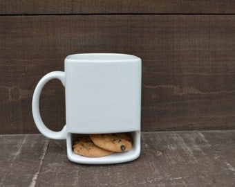 Solid White - Ceramic Cookies and Milk Dunk Mug - Plain Mug - Ready to Ship