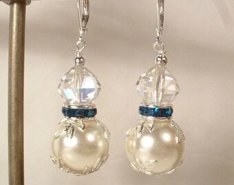 Vintage Turquoise Teal Blue Rhinestone, Ivory Pearl & Crystal Silver Bridal / Bridesmaids Dangle Earrings, Drop Earrings, Modern Wedding