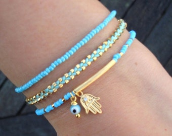 Evil Eye Beaded  Hamsa Bracelet  - Friendship Bracelet