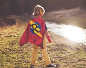 Super FAST DELIVERY - PERSONALIZED Boys Superhero Cape - Choose the Initial - Super hero party cape
