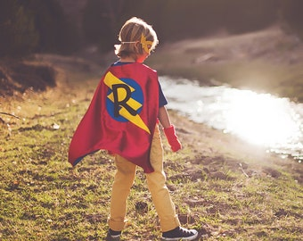 Kids Hallween Costume - Ready - Super FAST DELIVERY - PERSONALIZED Boys Superhero Cape - Choose the Initial - Super hero party cape