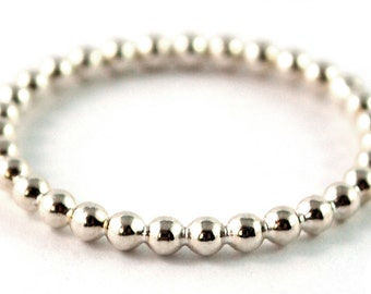 Bead Sterling Silver Stacking Ring Dotted 1.8mm