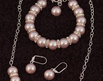 Swarovski Crystal and Pearl Necklace, Bracelet and Earrings
