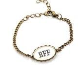 BFF word Bracelet - Tiny Charm Bracelet - Best Friend Jewelry - Best friend forever. Nickel FREE