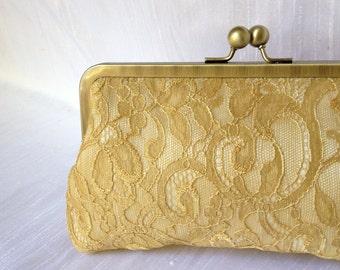 Chantilly Lace Kisslock-- Gold Lace Bridal Clutch