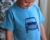 Cooper Mini Shirt, MADE TO ORDER, Short Sleeve, Hand-dyed, Hand-printed, Linoleum Block Print