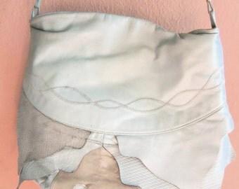 80s VIVA--50 Shades of Grey--Leather Shoulder Bag--Layered