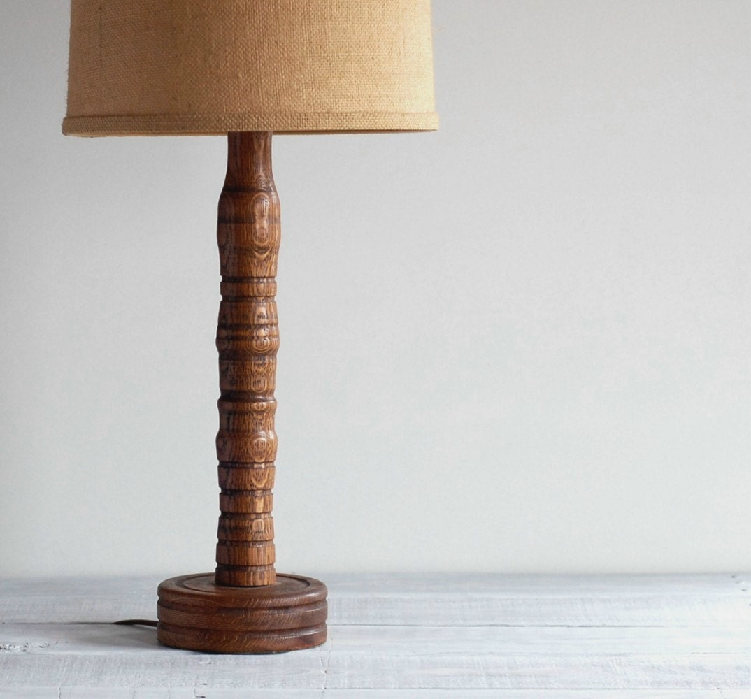 Vintage handmade wood spindle table lamp rustic wooden lamp for Lamp wooden