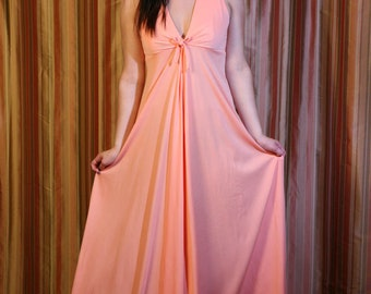 Vintage 70s Maxi, Prom Dress in Peach, Apricot