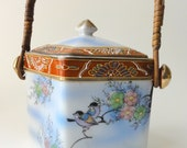 Vintage Porcelain Biscuit Cookie Barrel Japan