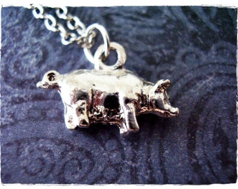 Silver Pig Necklace - Silver Pewter Pig Charm on a Delicate Silver Plated Cable Chain or Charm Only