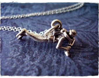 Silver Scuba Diver Necklace - Sterling Silver Scuba Diver Charm on a Delicate Sterling Silver Cable Chain or Charm Only