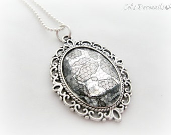 Gothic lace necklace, lace pendant, statement necklace, gothic jewelry