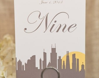 Chicago 5x7 Wedding Table Numbers  Skyline Sign Custom Cityscape Customize Simple Elegant