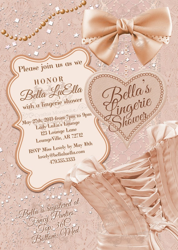 Lingerie Shower Invitation Bachelorette Party Bridal Shower