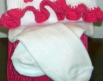 Toddler Size 3-8.5 Hot Pink Flower on Hot Pink Crocheted Ruffle Trim Socks - 2 to 3 Years