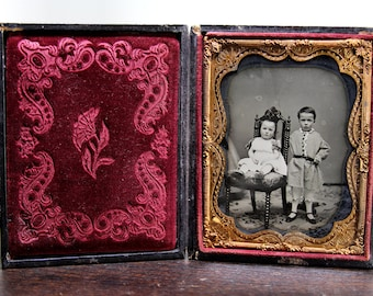 Large 1/4 Ruby Ambrotype in Full Case / Cute Siblings with Partially Hidden Mother