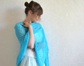 Turquoise Linen Scarf Scuba Blue Shawl Weddings Bridesmaiids Stole Sheer Wrap  Aqua Knitted Lace Scarf