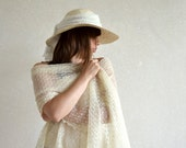 Ivory Linen Scarf Ivory Wedding Scarf  Bridal Shawl Linen Wrap Lace Stole Light And Sheer Knitted Linen Scarf Lacey Wings
