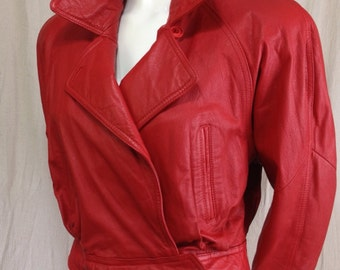 Red leather Wilsons jacket 1980s Motorcyle Shoulder pads Vintage Ladies Asymmetric