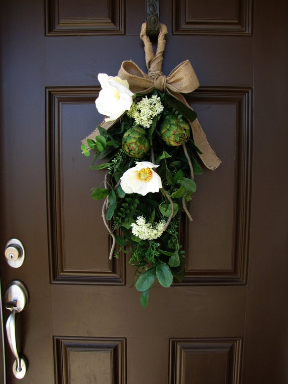 Pleasing Magnolia And Artichoke Front Door Swag Burlap Bow Spring Door Handles Collection Olytizonderlifede