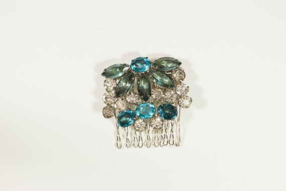 Something Blue Handmade Repurposed Vintage Brooch Hair Comb - Free US Shipping - Style 829995