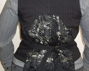 Vest/Waistcoat with black lace bustle - black with red pinstripes - adjustable