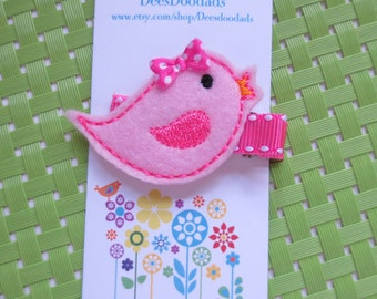 Little Pink Birdie Felt Embroidered Hair Clip