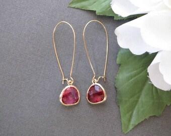 Ruby Earrings, Drop Earrings, Minimalist Jewelry, Bridesmaid Jewelry, Bridal Jewelry, Wedding Jewelry, Gift for Her, Simple Earrings, Bezel