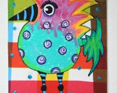 Animal Art, Original Painting, Bird, Halloween Art ACEO on Etsy