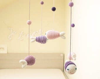 Fish Baby Mobile, Baby Girl Mobile, Purple Nursery Mobile, Sea Mobile, Crochet Mobile, Purple Nursery, Baby Shower Gift