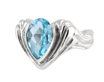 Blue Topaz ring - Water Drop ring - Dew Ring - Platinum Silver Ring - High End Jewelry