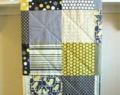 Modern Baby Quilt - Bird Swing - Flannel or Minky Back - Grey, Citron Yellow, Black, and White - Gender Neutral Crib Quilt - Toddler Quilt