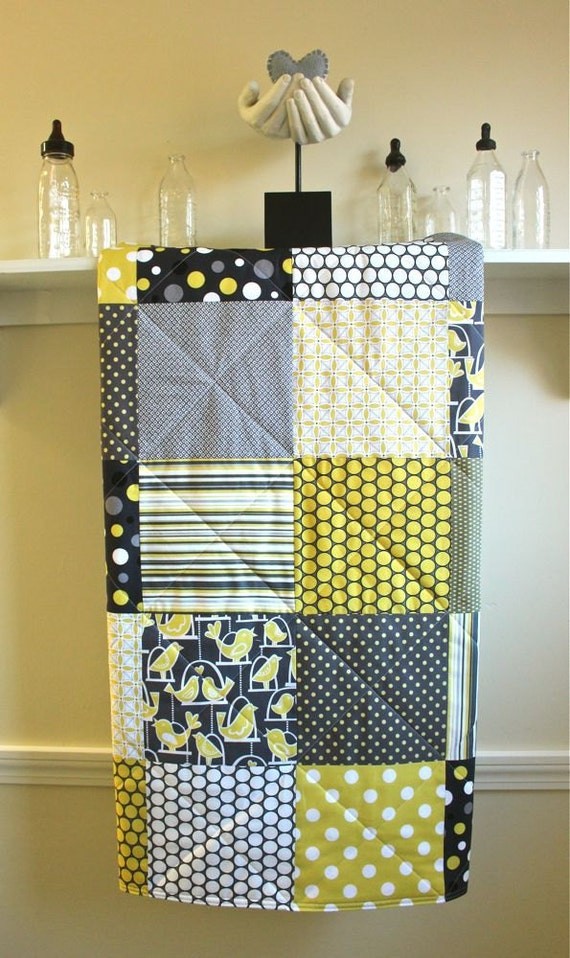Items Similar To Modern Baby Quilt Bird Swing Flannel