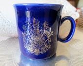 Cobalt Blue Tea Mug Royal Wedding Silver Printing - Prince Charles & Lady Diana Coffee Mug - Lion and Unicorn crest -  made in england