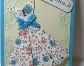 "Pretty Blue-Flowered Dress with Waist Bow, Card for a Friend, ""Hello, Girlfriend"""