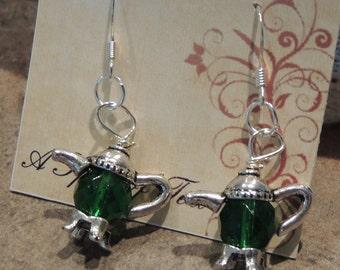 A Spot of Tea earrings - green Czech glass in silver
