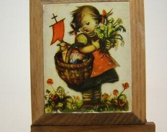50% off clearance sale! vintage Hummel wooden plaque on easel