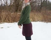 Womens Clothing - Sweater Skirt in Wool Knit - Shown in Burgundy Boucle - Made to Order