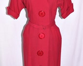 Vintage 40s Red Wool Dress with Large Buttons R&K Originals bust 40