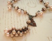 Blush pearl dangle necklace, beige pale pink drop cluster Y necklace, antiqued brass chain, leaf drop, piink bridal jewelry, pearl jewelry